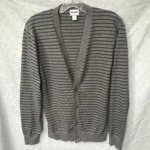 Men's Grey V-neck Fitted Cardigan w Navy stripes S